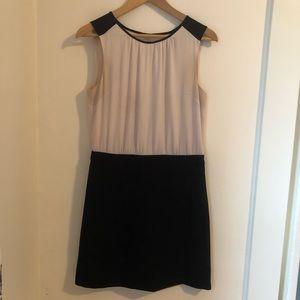 Black and cream color block dress | Loft size 4